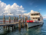 ferryboat docked on lake maggiore italy hdr