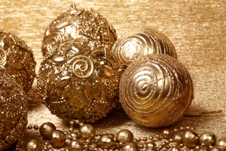 Golden Balls - ball, merry christmas, balls, christmas, golden balls, christmas decoration, pearls, xmas