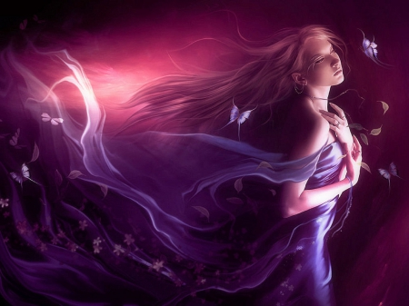 ~Feeling of the Wind~ - lovely, model, colors, butterflies, softness beauty, creative pre-made, digital art, woman, hair, beautiful girls, purple, photomanipulation, emotional, people, weird things people wear, beloved valentines