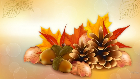Thanksgiving Fall - fall, autumn, orange, maple, acorns, pine cones, leaves, Thanksgiving, gold