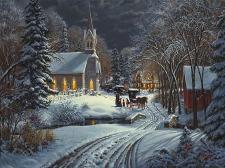 Amish christmas - amish, village, car, colorful, christmas, winter, horses, beautiful, trees, church