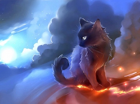 Kitten Glanced - kitty, creative pre-made, digital art, cat, sky, clouds, glanced, fantasy, paintings, kitten, drawings, animals