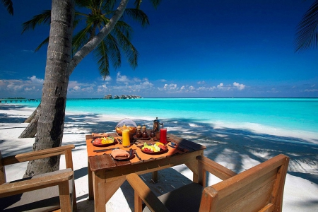 Tropical Beach Lunch - dinner, eat, picnic, sea, beach, lagoon, sand, lunch, aqua, blue, exotic, islands, food, ocean, table for two, waters, paradise, dine, island, tropical