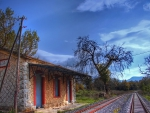 wonderful railroad station in pelleponisos greece hdr