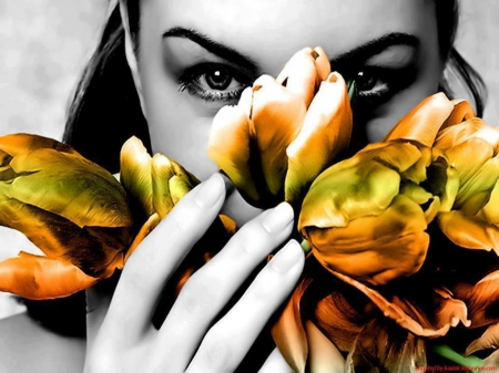 Beauty Eyes - stare, look, black, gorgeous face, girl, femininity, flowers, beauty, splash color, eyes