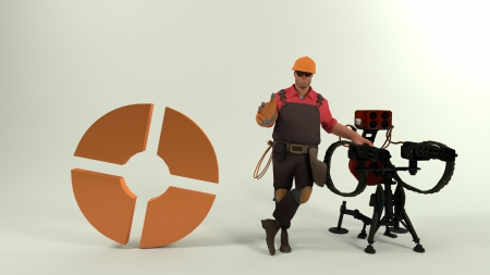 TF2 Engineer - sentry, blender, tf2, engineer, fortress, cycles, render, team, 2