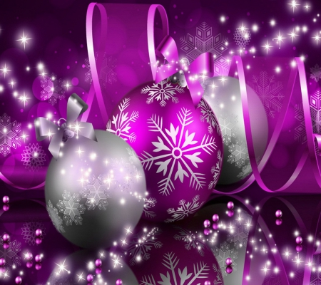 Purple & Silver Spheres - beauty, silver, sweet, ribbon, glow, christmas, spheres, purple, shine, abstract, beautiful, cute, 3D