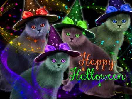 ♥ ☻ Ready for Halloween Party ☻ ♥ - stars, halloween party, hats, happy halloween, cat, spider, witchy hats, cute, dark, party, eyes, cats, animals