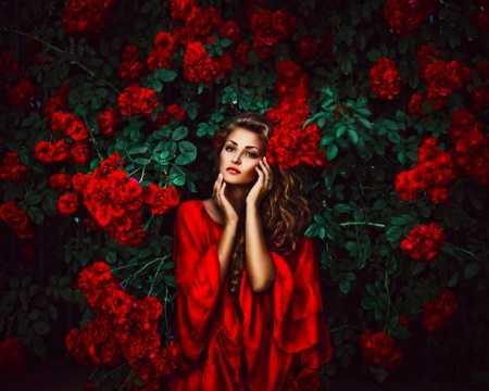 Girl in Red - photo, red, dress, look, background, beautiful, leaves, girl, flowers