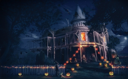 Halloween - house, orange, halloween, pumpkin, dark, mansion, light, blue, night