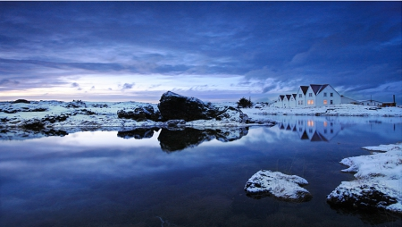 Iceland - Rock, Ice, Sunset, Nature, Lake, Blue, House, Night, Sky, Home, Light, Plant, Cloud, Water, Evening, Snow, Tree, Iceland, Scenary