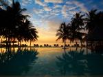 Beach Sunset over Pool
