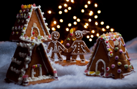 Gingerbread Christmas♥ - holidays, gingerbread houses, delicious, christmas, lights