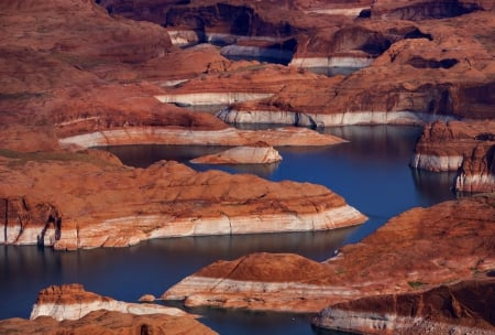NATURAL CURVES - rocks, water, erosion, low level, river, dam, Arizona, Glen canyon