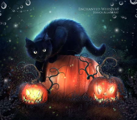 Black cat - halloween, magic, fantasy, enhcant, darkness, pumpkin, pagan, samhain, celtic, night, art, forest, black, cat, abstract, goth, black cat, dark