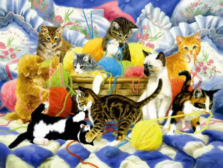 Yarn party tonight - playing, fluffy, kittens, fun, adorable, tonight, joy, sweet, cute, yarn, party, kitties, cats, friends