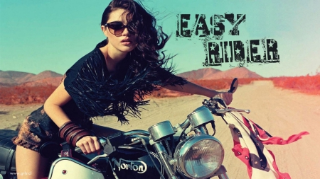 Easy Rider Babe - desert, motorcycles, beautiful, sexy, women