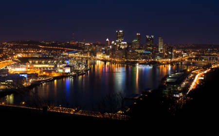 Pittsburgh - architecture, pittsburgh, buildings, bridges, beautiful, sky, lights, skyscrapers, modern, city, water, usa, rivers, night