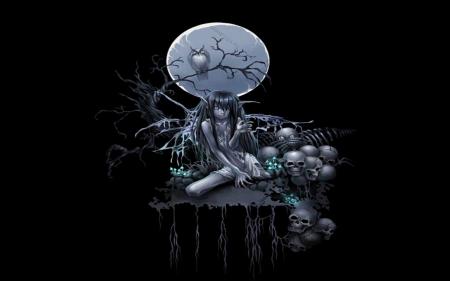 THE ELF - Black, Wallpaper, Skulls, Dark, Evil, Moon, Elf
