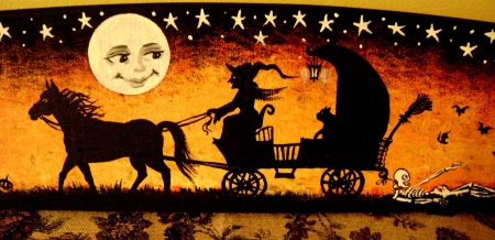 VINTAGE HALLOWEEN - ORANGE, WITCH, CARRIAGE, FACE, VINTAE, FULL, MOON, BLACK, POSTCARD
