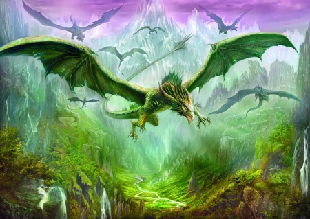 DRAGON KINDOM - DRAGONS, KINGDOM, FLYING, GREEN, WATERFALL