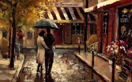 Romantic Stroll 2 - art, romance, cityscape, artwork, painting, wide screen, rain, scenery, couple, stroll