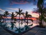 Sunset over pool Fiji