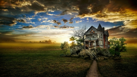 Haunted House - halloween, haunted house, nature, clouds, sky