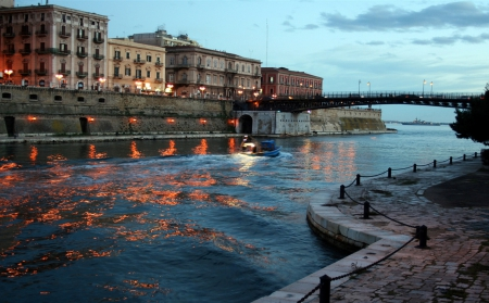 Taranto, Southern Italy - architecture, culture, Italian, Italy, sunset, sky, lights, building, atmosphere, boat, Europe, water, bridge, evening, scenery, night
