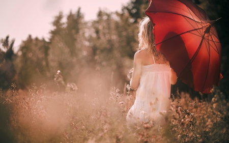 Sunny Day - red, umbrella, beautiful, woman, mood, photography, girl, nature, field