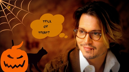 Johnny Depp - male, brown, orange, halloween, glasses, black, man, by cehenot, smile, spider, blood, web, pumpkin, johnny depp, vampire, actor
