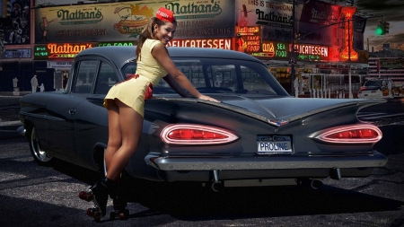 Sexy Waitress Girls And Cars Amp Cars Background