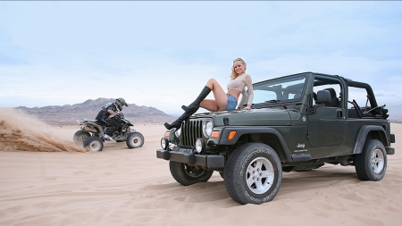 Desert Fun - cars, 4 wheelers, atv, beautiful, jeep, sexy, women