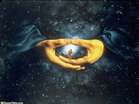 In God's Hands - religious, god, dark, mystery, in gods hands, the hands of god