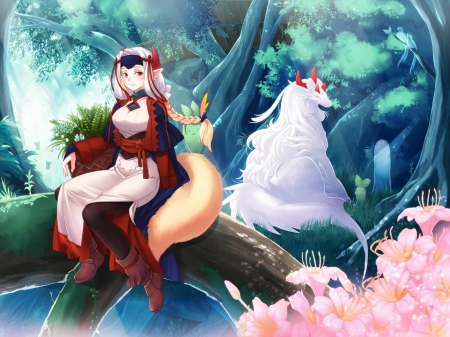 Two sides - dress, beautiful, magic, horns, lights, animal, nice, fantasy, anime, flowers, beauty, anime girl, long hair, fox tail, forest, pink flowers, two sides, blonde, pantyho, trees, braids, spirit, cute, cool, bird, hazuki gean, flower, headband, bots, red eyes