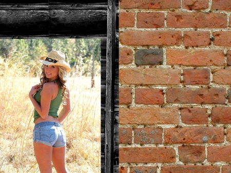 Cowgirl - pretty, female, hats, cowgirl, beautiful, trees, women, doors, fantasy, walls, hot, girls, fashion, cutoffs, western, style
