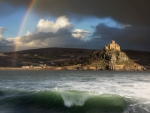 rainbow over st michael's mount in cornwall