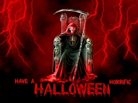Halloween Horror - red, skeleton, halloween, thunder, horror, horrific, reaper, scythe, devil, skull