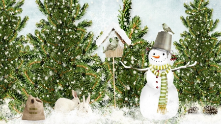 Winter in the Woods - Christmas, bird house, forest, snowmen, holidays, woods, sowman, winter, bird, snow, rabbits, bunnies, bird seed, Xmas