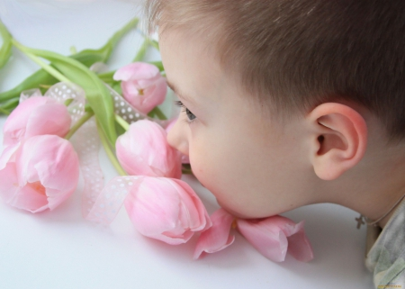 Happy Birthday, SunShine!  (✿◠‿◠) - JACQELINEla, special day, pink tulips, boy, bouquet, love, flowers, child, for you