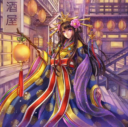 Oriental - colorful, house, scenic, divine, lantern, lovvely, own, home, beautiful, sublime, elegant, sweet, city, multicolor, anime, color, beauty, anime girl, scenery, long hair, gorgeous, female, town, building, girl, oriental, chinese, scene, angelic, maiden