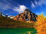Autumn mountain and lake