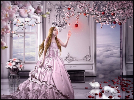 Fairytale - gown, apples, flowers, clouds, bunnies, sky, women, cherry blossom tree