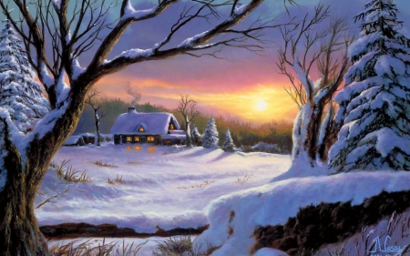 Winter sunset - sunset, snowscape, snow, winter