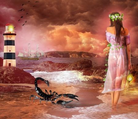 ~Scorpion Girl~ - girls, scorpion, creative pre-made, lantern, softness beauty, photomanipulation, fantasy, weird things people wear, beautiful girls, backgrounds, digital art