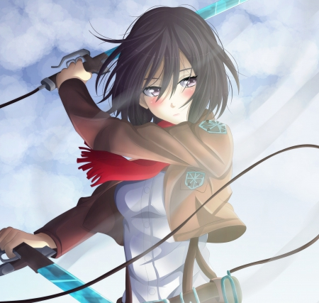 Mikasa - female, mikasa ackerman, mikasa, short hair, shingeki no kyojin, girl, blade, attack on titan, emotional, anime, dark, scarf, anime girl, weapon, sword, serious