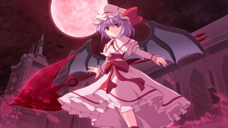 Remilia Scarlet with Spear The Gungnir - Touhou, Koumakann, Remilia, scarlet moon