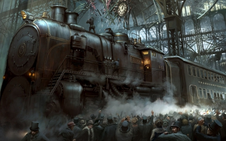 Steampunk Railways - station, locomotive, steam, large