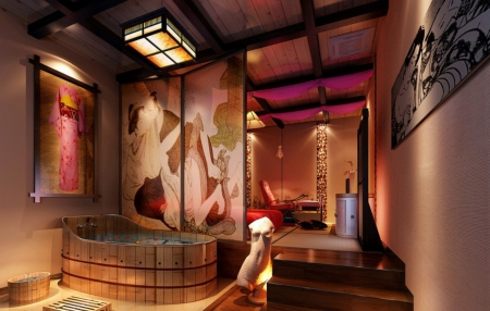 Japanese House - japan, house, japanese, honeymoon, oriental, indoor, bath, kimono
