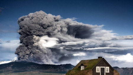 eyjafjallajokull volcano eruption in iceland - mountain, volcano, cottage, eruption